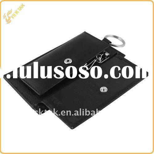 Leather key wallet & coin holder with metal ring for 2012 newest style