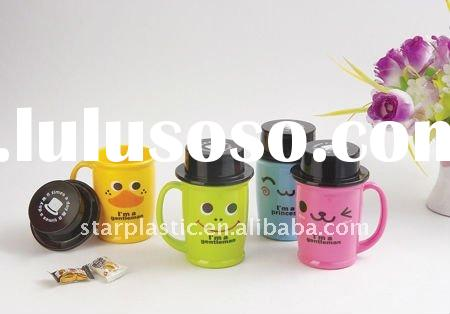 popular design children plastic cup with handle cartoon mug with lid