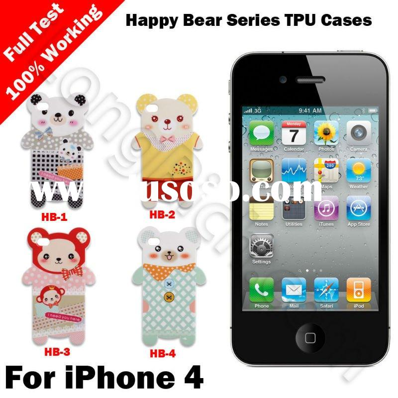 For iPhone 4 Happy Bear Series Soft TPU Cases