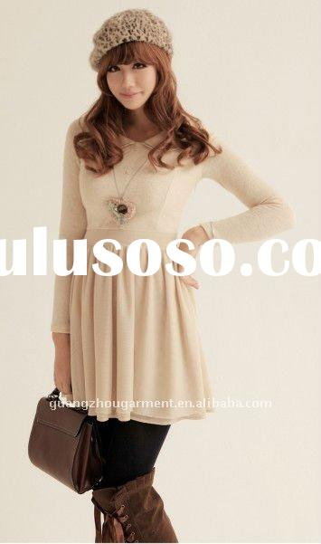 2011 new arrival autumn style long sleeve knit lace dress