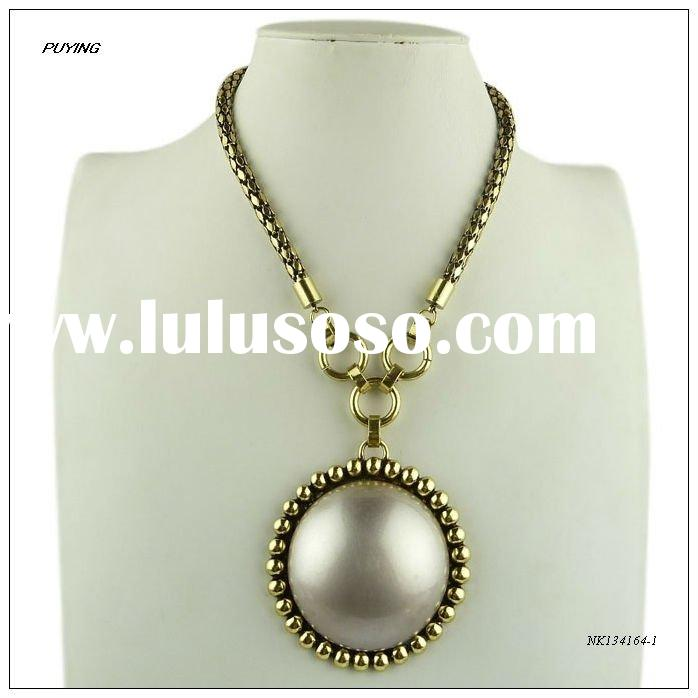 Fashion Big Imitation Pearl Gold-plated Alloy Pendant Necklace, Fashion Women Jewelry