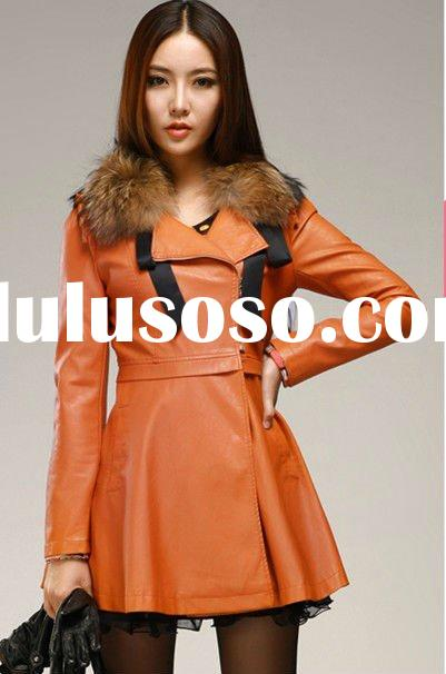 Long Sleeve Fur Collar PU Leather Wholesale Long Korean Fashion Coat