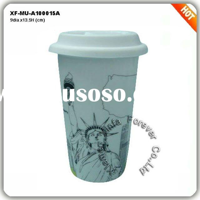 hot sales double wall mug with silicone lid