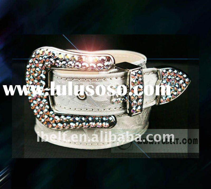 Unique design genuine leather belt for ladies with rhinestone
