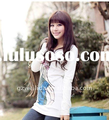 2011 Autumn Fashion Korean Style Long Sleeve T Shirt With Printing