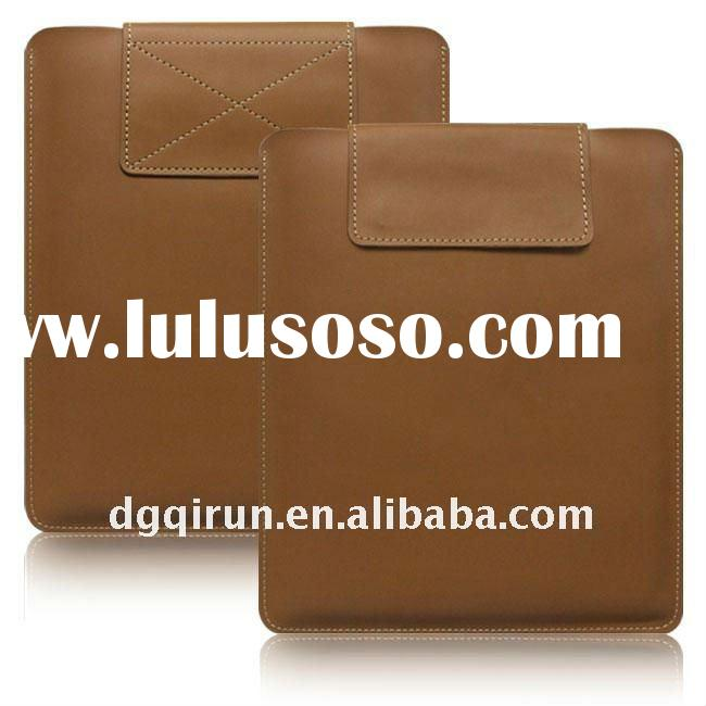 Brown Velcro Tape Slip Leather Case Sleeve Pouch for iPad 2