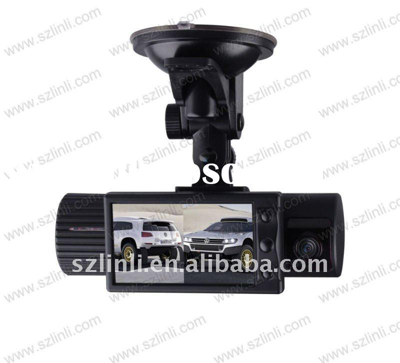 Dual Lens Car Vehicle DVR Black Box with GPS Logger