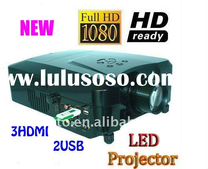 HD 1080P LED Home Theater Projector Input:2USB+3 HDMI LED lamp lasts 50000 hours Support  hard disk