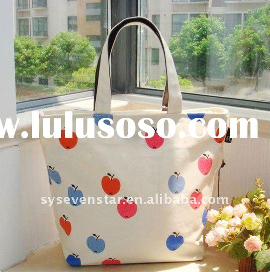 Trendy Lady Style Apple Pattern Beautiful Zipper Canvas Shopping Bag