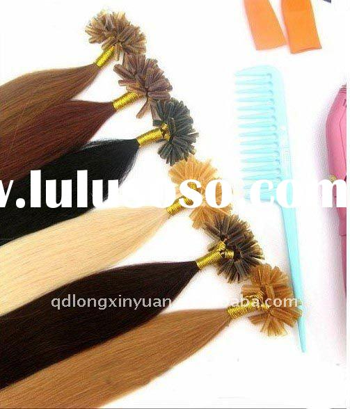Wholesale stick U tip keratin prebonded remy human  hair extension