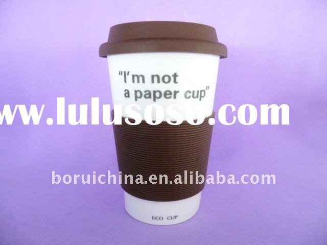 12OZ ceramic mug with silicone lid