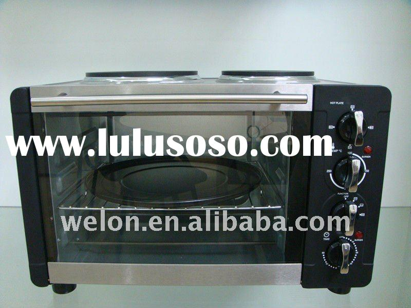 30l stainless steel toaster oven with two hot plates