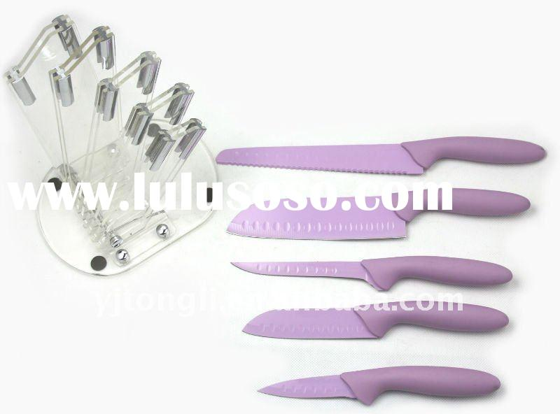 5pcs non-stick kitchen knife set with acrylic block