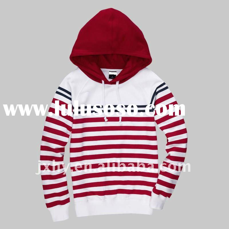 fashion long sleeve pullover stripe with hood hoodies for women