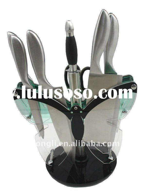 stainless steel knife set with acrylic butterfly stand