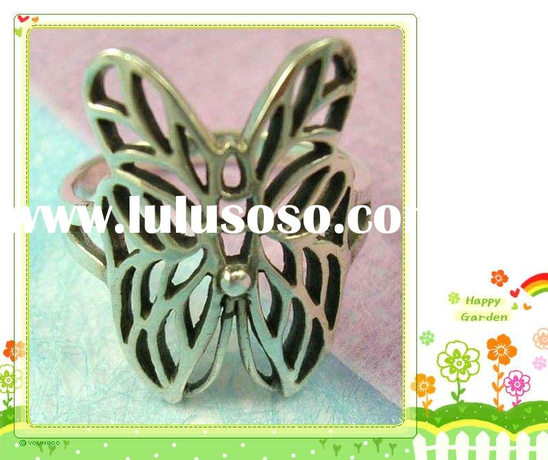 trendy insect jewelry fashion for teen & lady - alloy ringr with a cut-out butterfly ring