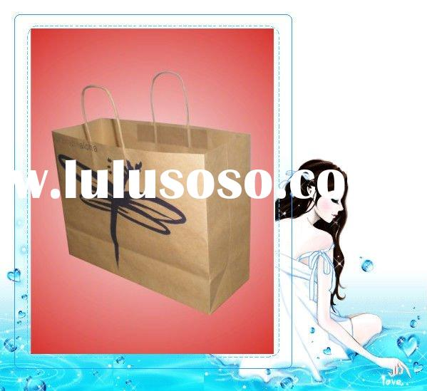 Butterfly Kraft Twisted Paper Handle Bag For Shopping