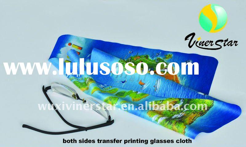 microfibre  heat transfer printing map glasses cleaning cloth