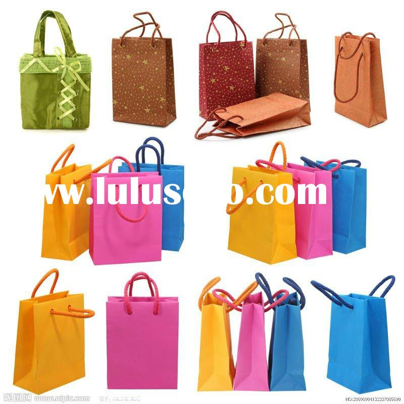 Offset Printing recycle Paper Bags with rope handles