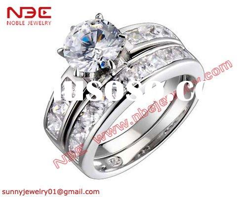 925 sterling silver wedding ring with 2 ring set