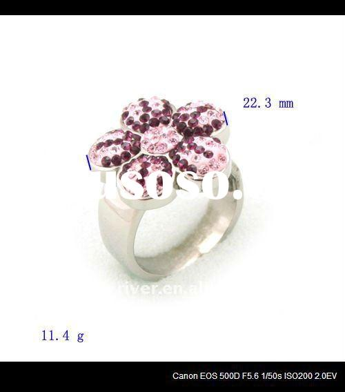 fashion stainless steel diamond flower rings jewellery