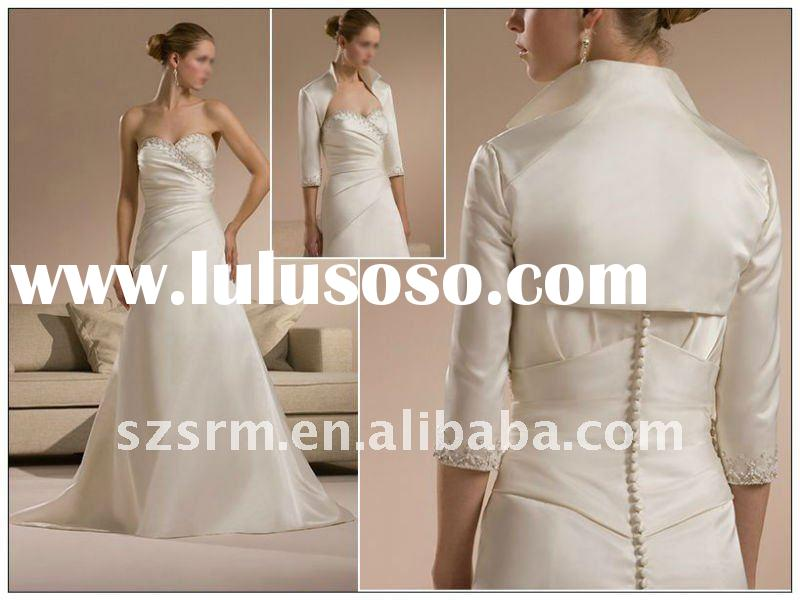 New Style sweetheart A-line beaded taffeta formal wedding dresses 2012