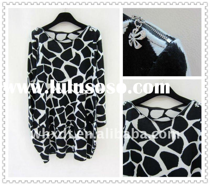 comfortable clothing dress with stone pattern black white