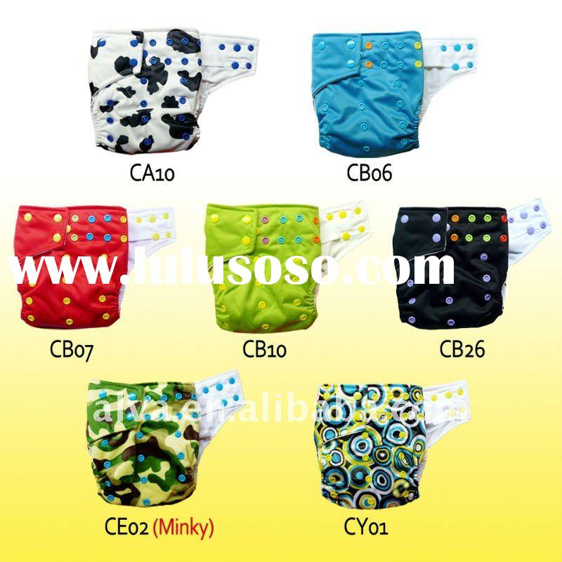 Bright Colored Snaps Baby Cloth Diaper with Double Gussets, Adjustable Size