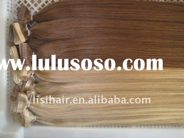Hair extensions of tape weft hair