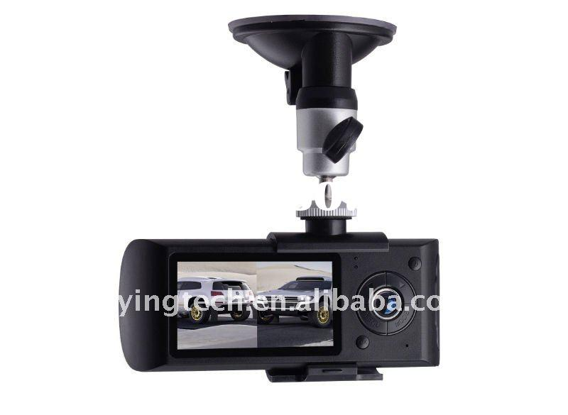 Dual len car dvr camera black box whit GPS  and reverse camera