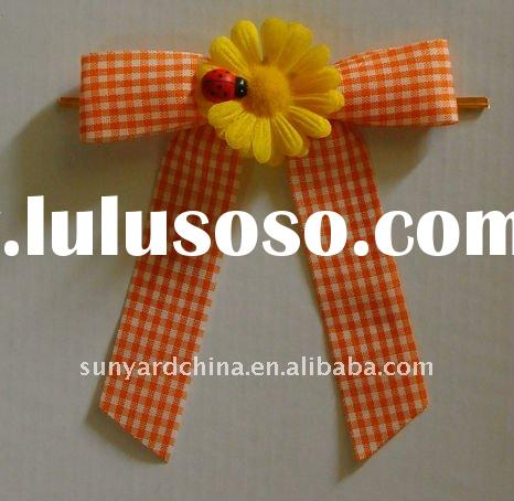 Checked ribbon pre-tied bow, ribbon with flower & ladybug, decorative bow