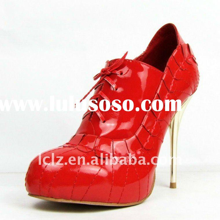 DR10 2011 Newest style 100% leather red high heel women lace up dress shoes