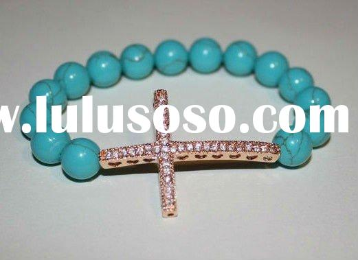 2011 Hot Sales Sparkling Crystal Turquoise Beaded Sideways Cross Bracelet