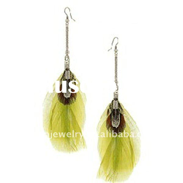new fashion jewelry drop earrings, rhodium plating natural yellow feathers earring