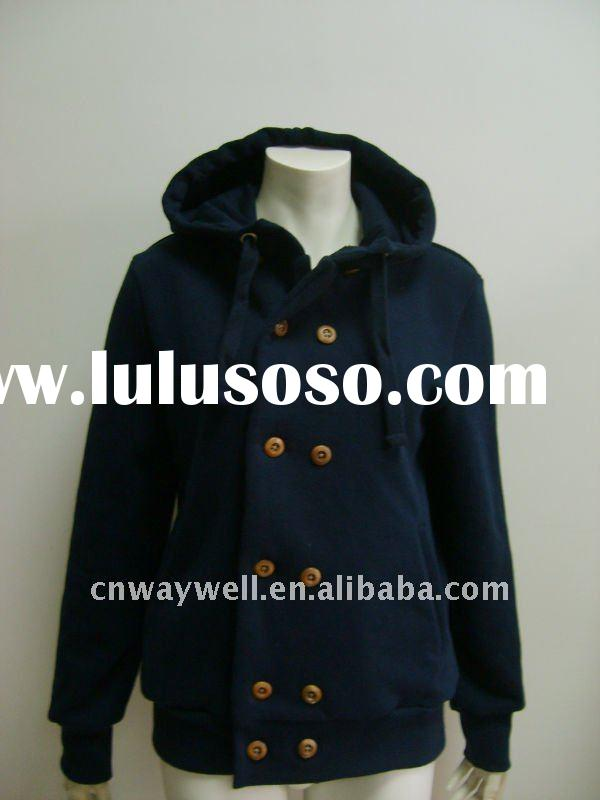 2012 women's fashion CVC 60/40 brushed fleece double breasted hoody / jumper / jacket - Top