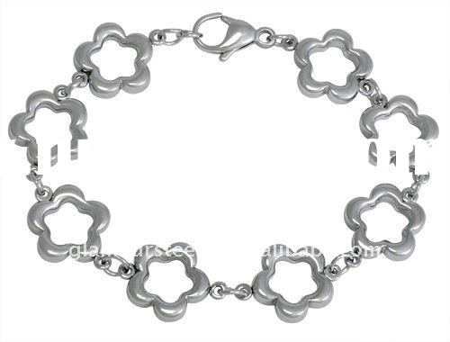 Classic Flower chain and link Bracelets stainless steel imitation jewelry wholesale