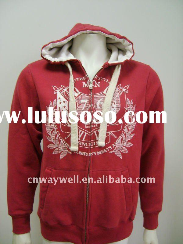 Men's 2012 casual CVC 60/40 brushed fleece printed zipper up hoody / jumper / jacket