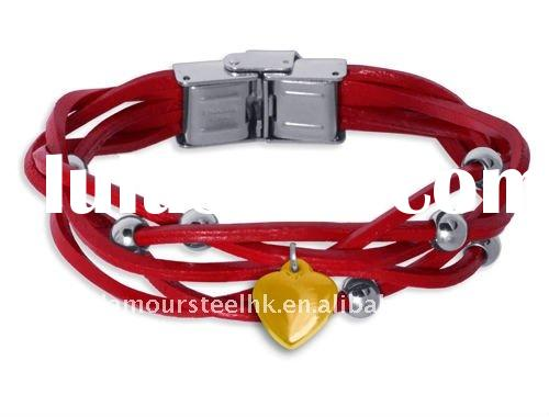 Newest Teens leather bracelets with stainless steel beads and small charms Best Imitation Jewelry wh