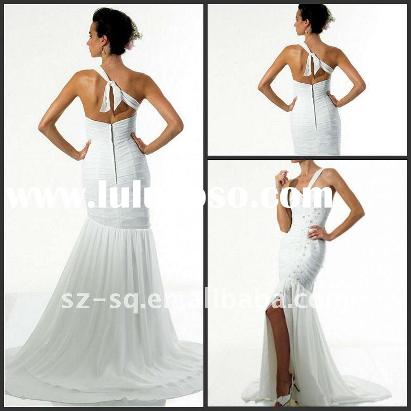 Y1050 New Style Chiffon Beads White One Shoulder Wedding Dress
