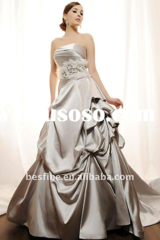 Ball gown in satin BL008 asymmetric dropped waistline with dramtic grosgrain ribbon belt and beads a