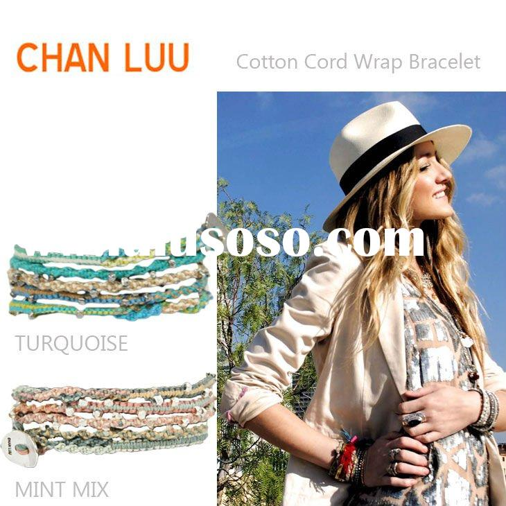 chan luu colorful woven cotton waxed cord wrap bracelet with alloy nugget for woman