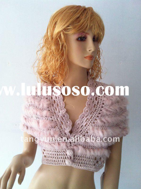 Women's knit Fashion Rabbit Fur Shawl