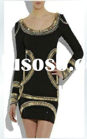 fashion gold lace black long sleeve bandage evening dress