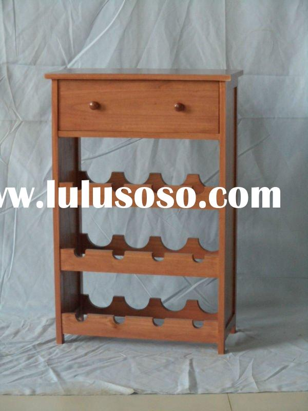 2011 new style paulownia wood wine rack display table with 1 drawer