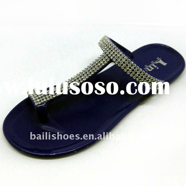 Hot-sale pvc diamond crystal flat high quality shoes for girls