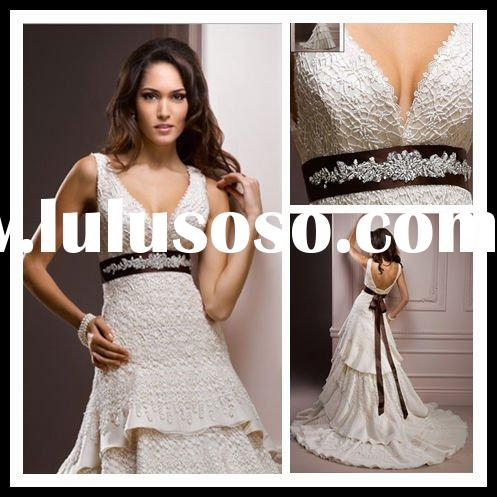 Sleeveless open back bridal dresses Oneshoulder laceup bridal dresses