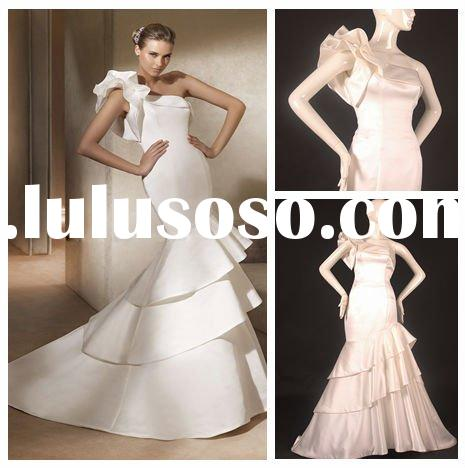 AM266 One Shoulder Satin Mermaid Wedding Dress