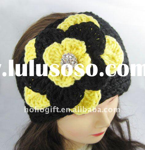 Soft ear muff/ear warmer Knit crochet headband head wrap with flower HB001 black yellow