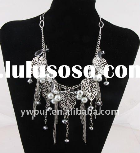 fashion necklace decorated with alloy leaves and chains(JA2024)