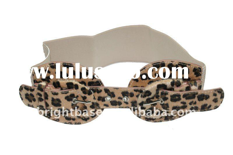 Wide Brown Leopard print elastic belt